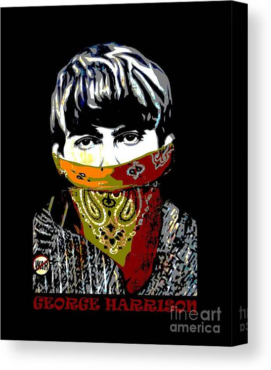 Banksy Canvas Print featuring the photograph George Harrison wearing a face mask by RicardMN Photography
