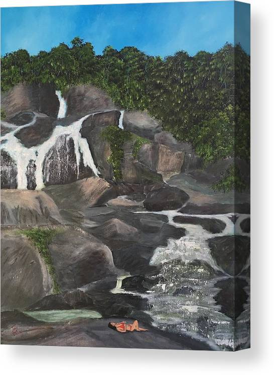 Rainforest Canvas Print featuring the painting Lady in Red by Tony Rodriguez