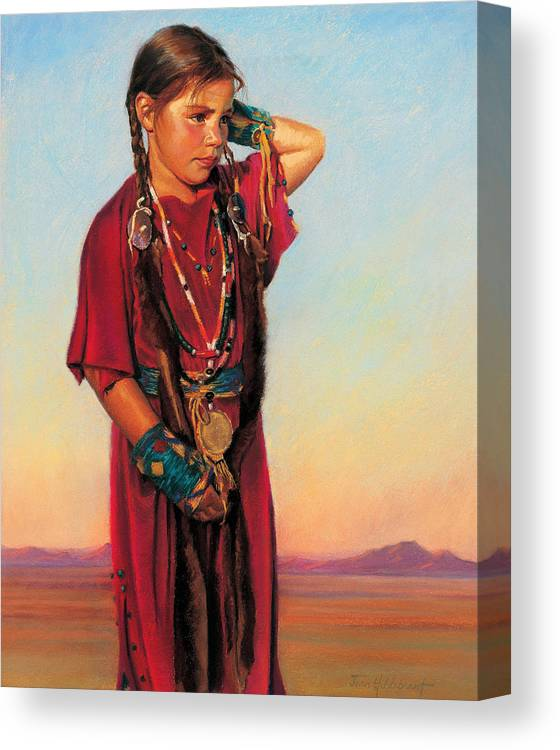 American Indian Canvas Print featuring the painting Little American Beauty I by Jean Hildebrant