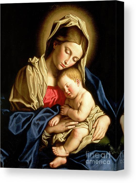 Mary Canvas Print featuring the painting Madonna and Child by Il Sassoferrato