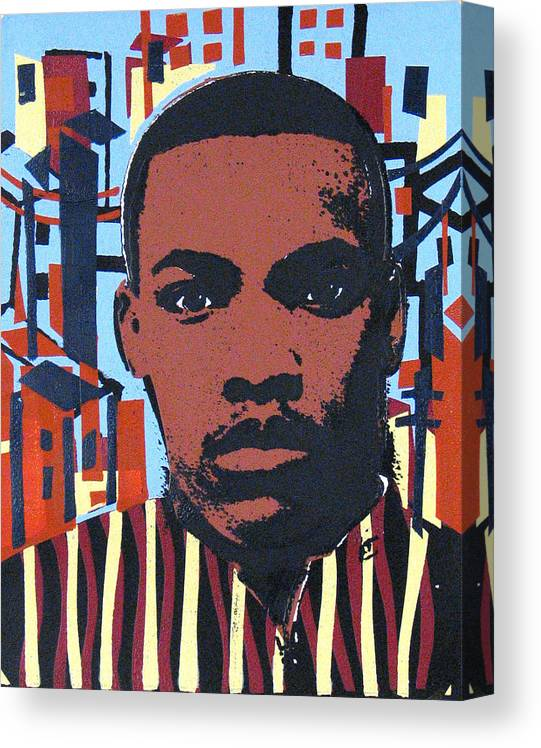 Man Canvas Print featuring the mixed media Man and the City by Rollin Kocsis
