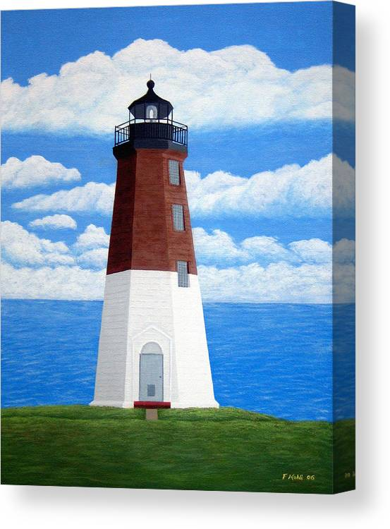 Lighthouse Paintings Canvas Print featuring the painting Point Judith Lighthouse by Frederic Kohli