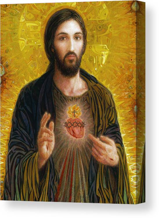 Christ Canvas Print featuring the painting Sacred Heart of Jesus by Smith Catholic Art