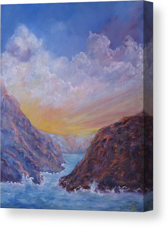 Hawaii Canvas Print featuring the painting Sea Coast Sunset by Thomas Restifo