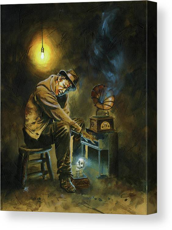 Tom Waits Canvas Print featuring the painting Tom Waits by Ken Meyer jr
