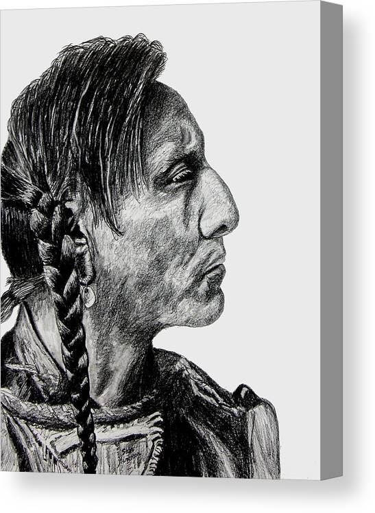 Indian Portrait Canvas Print featuring the drawing Unknown Indian II by Stan Hamilton