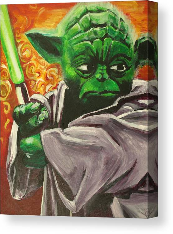 Yoda Canvas Print featuring the painting Yoda by Kate Fortin