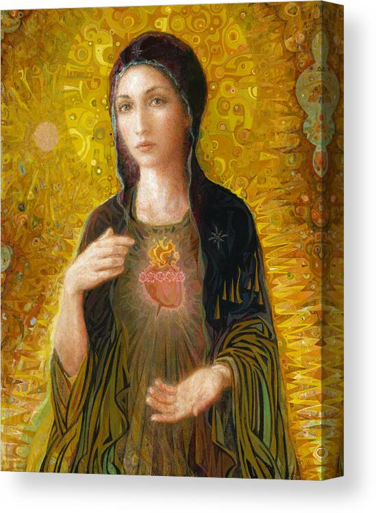 Mary Canvas Print featuring the painting Immaculate Heart of Mary by Smith Catholic Art