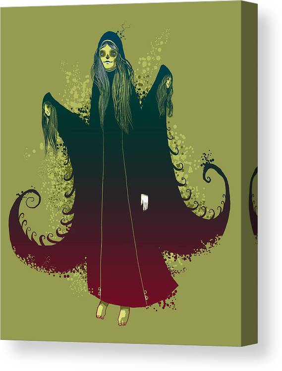 Witches Canvas Print featuring the painting 3 Witches by Michael Myers