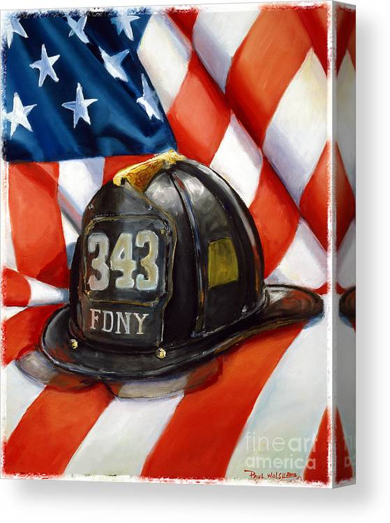 American Flag Canvas Print featuring the painting 343 by Paul Walsh