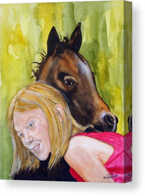 Equine Canvas Print featuring the painting A Little Girl's Fancy by Jean Blackmer