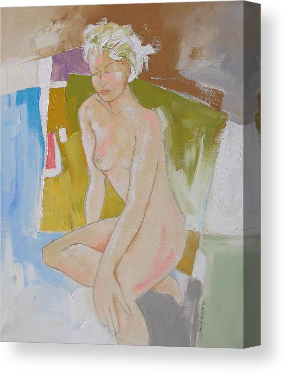 Abstract Canvas Print featuring the painting After The Bath by Linda Monfort