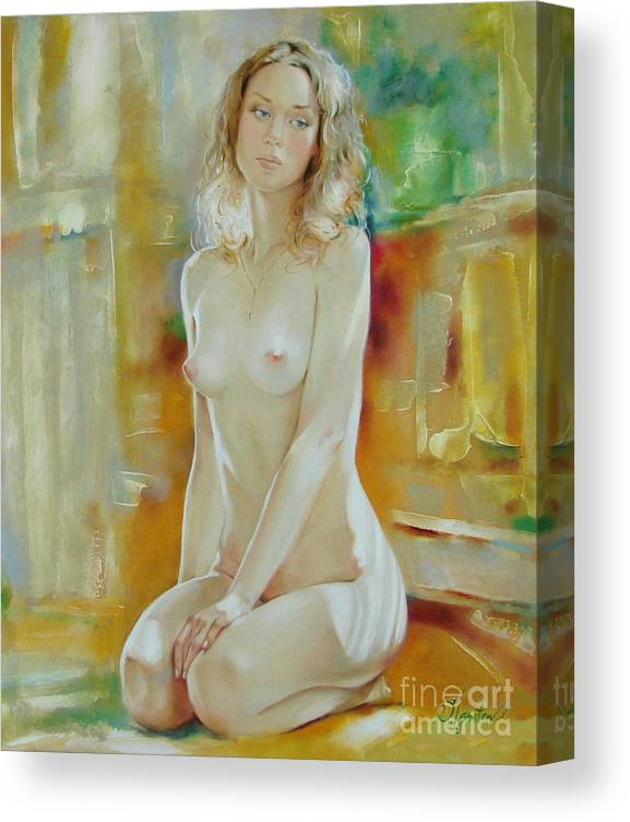 Art Canvas Print featuring the painting Alone at home by Sergey Ignatenko