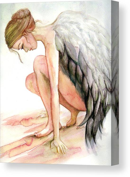 Angel Canvas Print featuring the drawing Angel Bowed by L Lauter