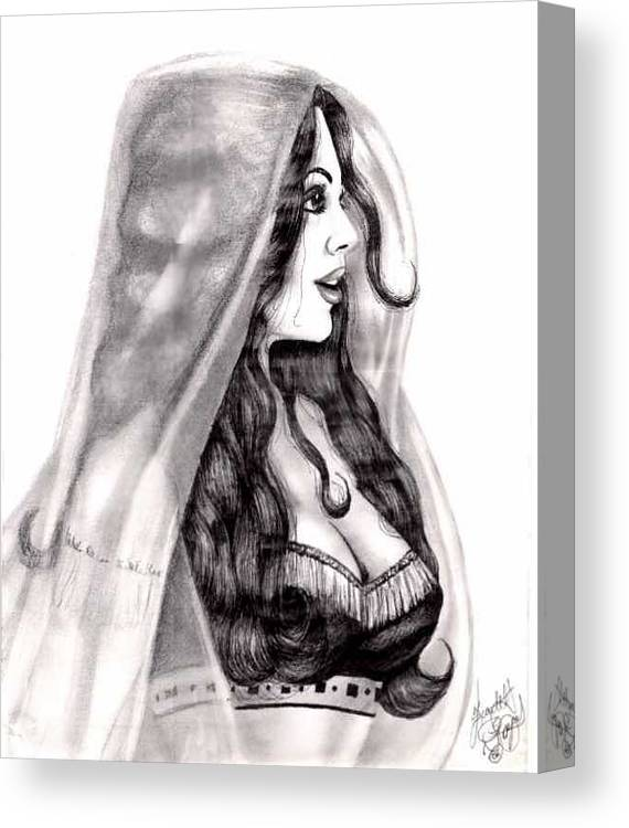 Figure Canvas Print featuring the drawing Arabian Beauty by Scarlett Royal