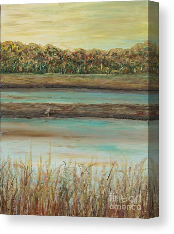 Bird Canvas Print featuring the painting Autumn Marsh and Bird by Nadine Rippelmeyer