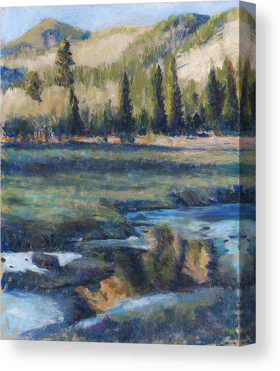 Partly Frozen River In The Rockies Canvas Print featuring the painting Autumn Reflections by Billie Colson