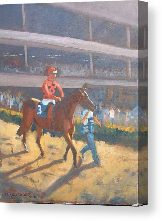 The Horses Are Approaching The Track For The Feature Race Of The Day...no. 3 Azari... Canvas Print featuring the painting AZARI a sure winner by Bryan Alexander