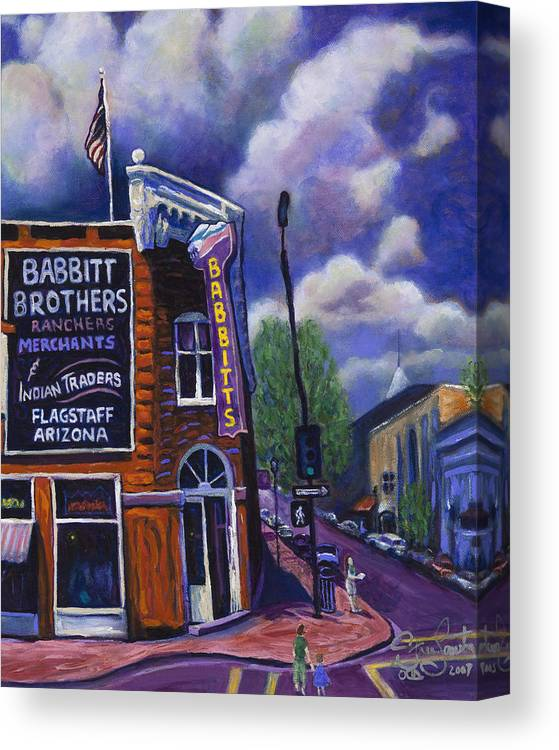 Historic Canvas Print featuring the painting Babbitt Bldg. by Steve Lawton