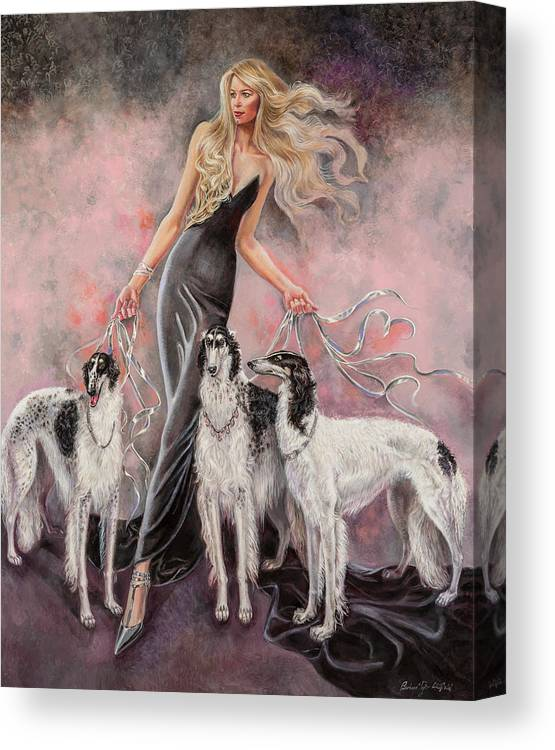 Barbara Tyler Ahlfield Canvas Print featuring the painting Babs with Three Borzois by Barbara Tyler Ahlfield