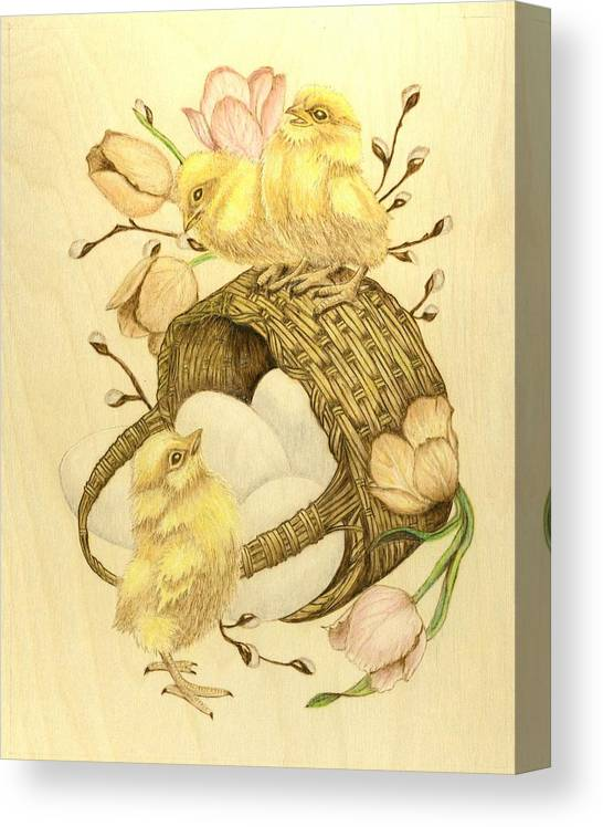 Chicks Canvas Print featuring the pyrography Baby Chicks by Danette Smith