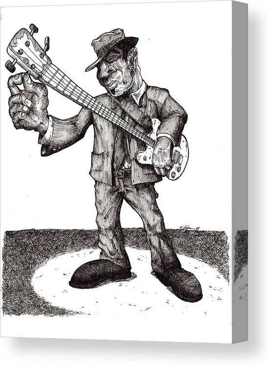Blues Canvas Print featuring the drawing Bass by Tobey Anderson