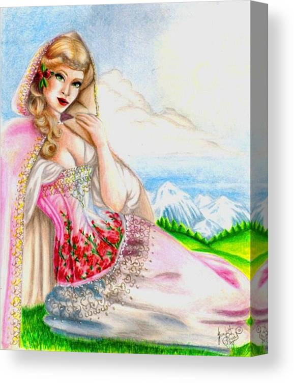 Figure Canvas Print featuring the drawing Beauty of the View by Scarlett Royal