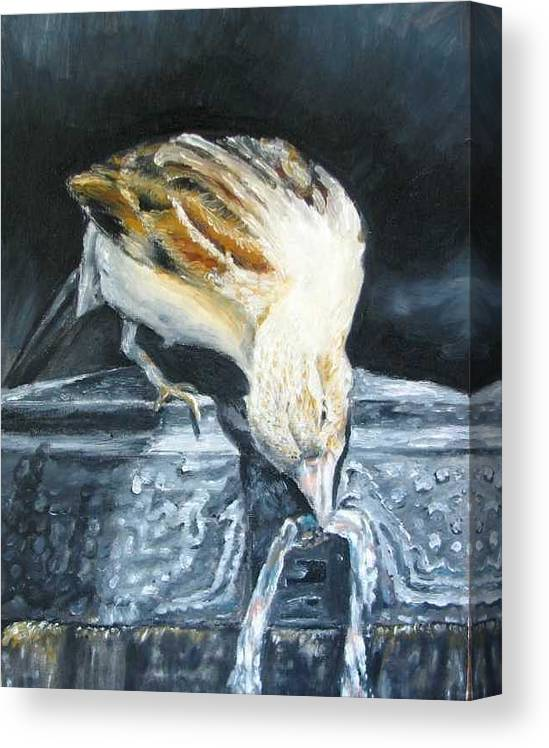 Oil Painting On Canvas Canvas Print featuring the painting Bird Original Oil Painting by Natalja Picugina