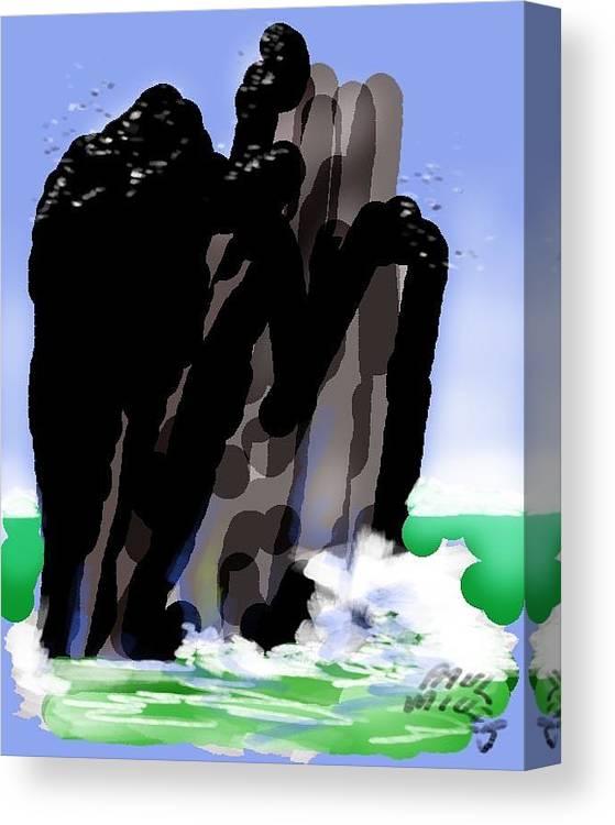 Seascape Canvas Print featuring the painting Bird Rock Off Marin Headlands by Paul Miller
