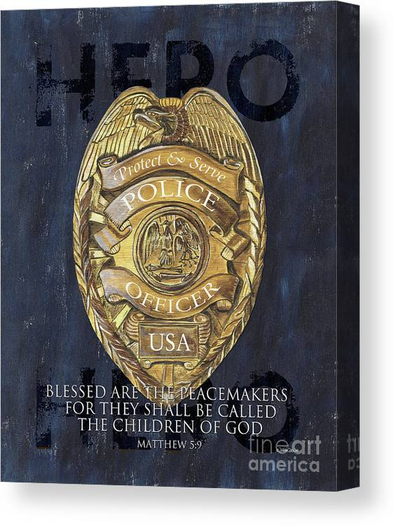 Police Canvas Print featuring the painting Blessed are the Peacemakers by Debbie DeWitt