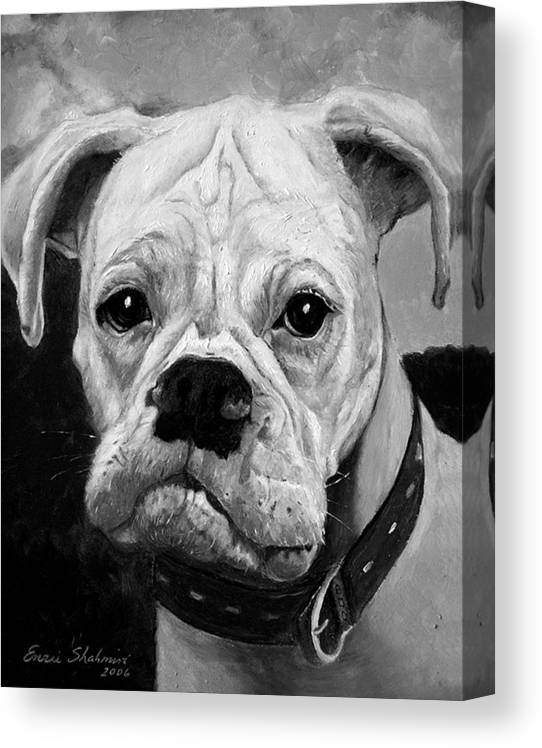 Boxer Canvas Print featuring the painting Boo the Boxer by Portraits By NC