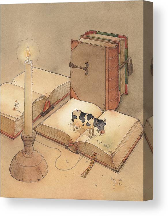 Science Books Cow Candle Reading Canvas Print featuring the painting Bookish Cow by Kestutis Kasparavicius