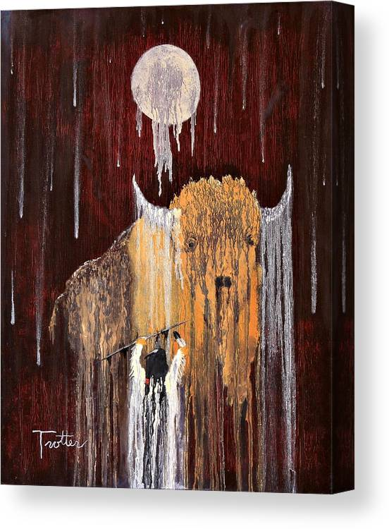 Native Art Canvas Print featuring the painting Buffalo Spirit by Patrick Trotter