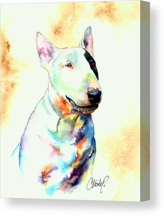 Bull Canvas Print featuring the painting Bull Terrier Dog Portrait by Christy Freeman Stark