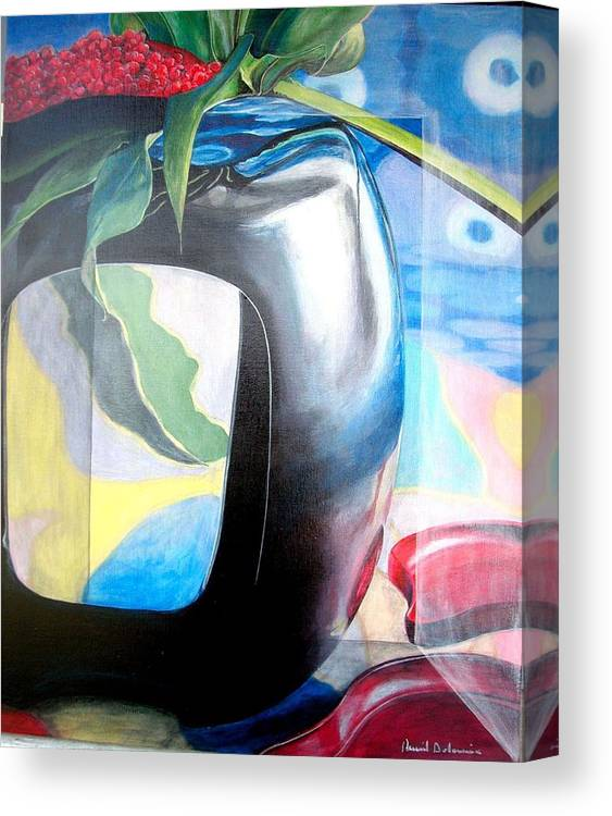 Nature-morte Canvas Print featuring the painting Cadre by Muriel Dolemieux