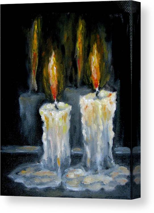 Candles Canvas Print featuring the painting Candles oil painting by Natalja Picugina