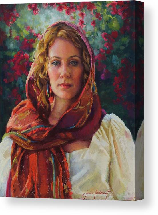 Woman Canvas Print featuring the painting Captivated by Jean Hildebrant