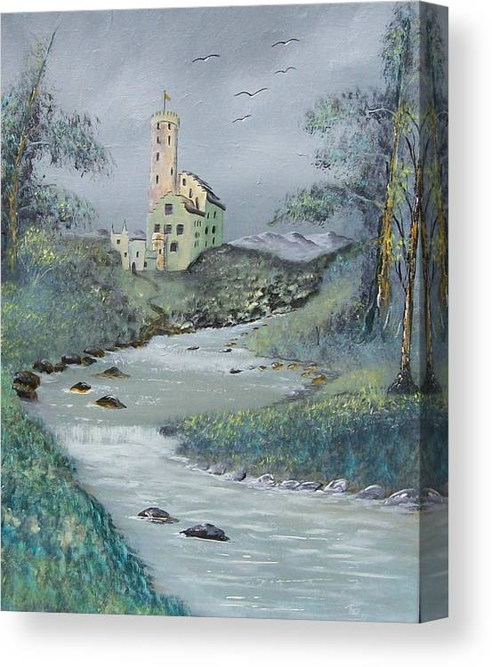 Castle Canvas Print featuring the painting Castle by Stream by Tony Rodriguez