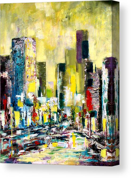 Abstract Canvas Print featuring the painting City Sunrise by Claude Marshall
