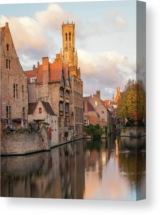 Rozenhoedkaai Canvas Print featuring the photograph Classic Bruges by Dalibor Hanzal