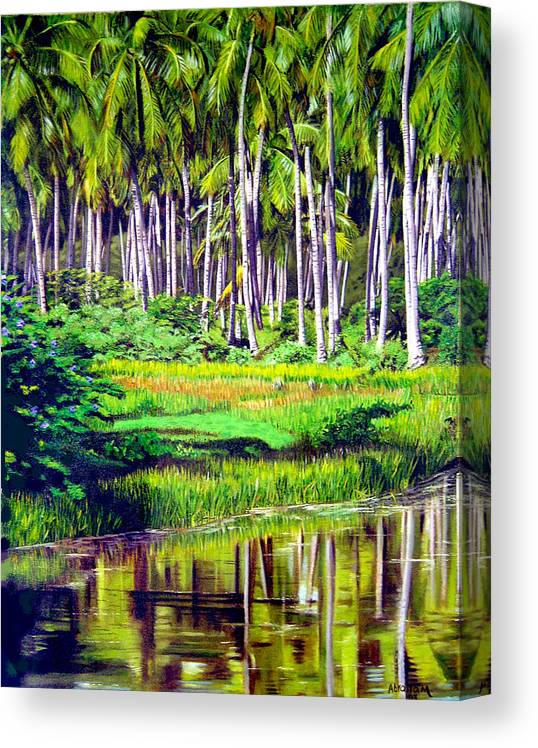 Coconuts Water River Green Art Tropical Canvas Print featuring the painting Coconuts Trees by Jose Manuel Abraham