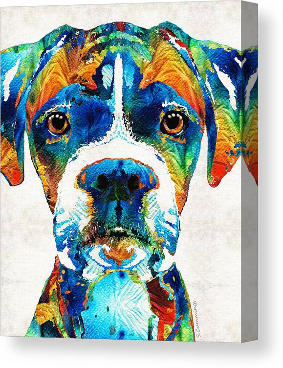 Boxer Canvas Print featuring the painting Colorful Boxer Dog Art By Sharon Cummings by Sharon Cummings
