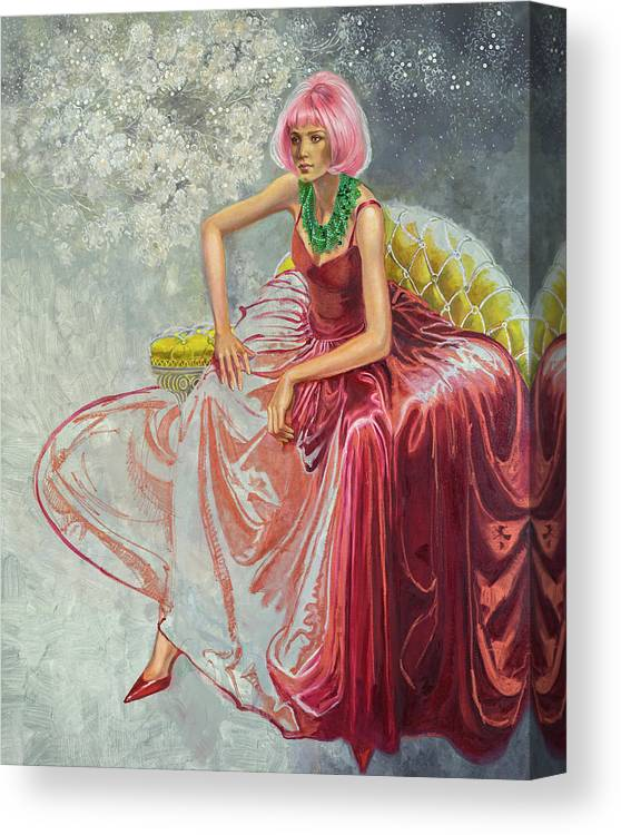 Fashion Illustration Canvas Print featuring the painting Cotton Candy by Barbara Tyler Ahlfield