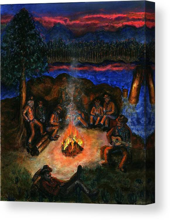 Cowboys Canvas Print featuring the painting Cowboys Mountain Camp at Night by Tanna Lee M Wells