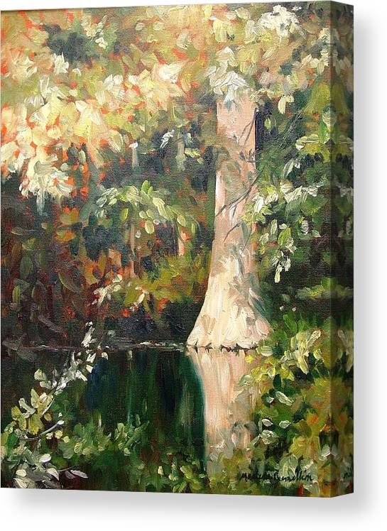 Landscape Canvas Print featuring the painting Cypress in Sun by Marlene Gremillion