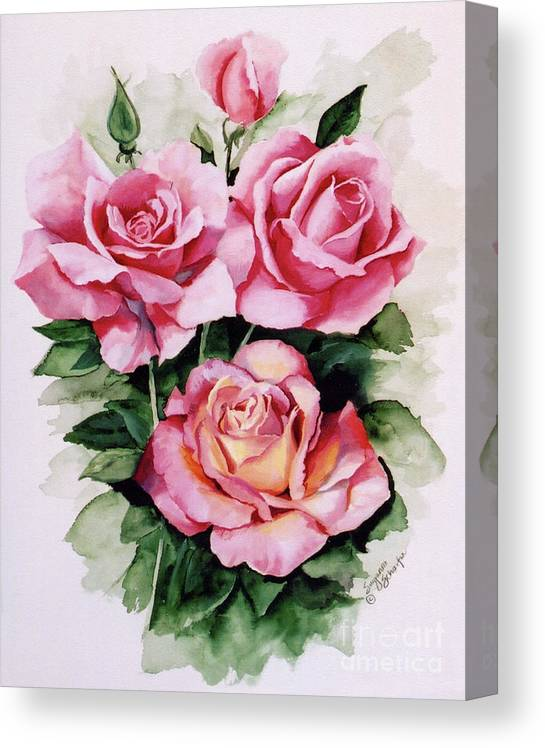Roses Canvas Print featuring the painting Dainty ladies by Suzanne Schaefer