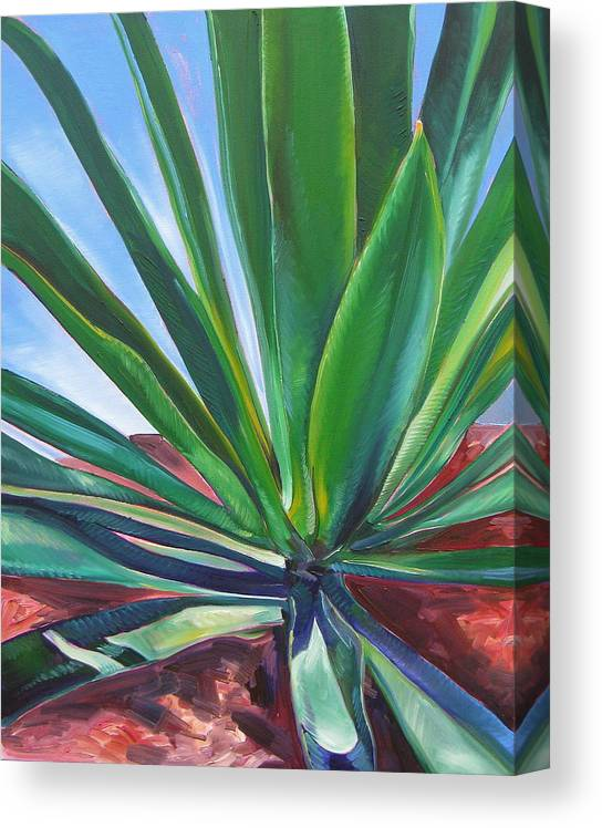 Botanical Canvas Print featuring the painting Desert Plant by Karen Doyle
