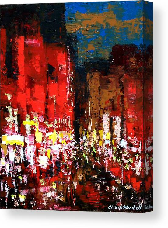 Abstract Canvas Print featuring the painting Downtown Lights by Claude Marshall