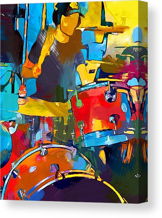 Drummer Canvas Print featuring the painting Drummer by Chris Butler