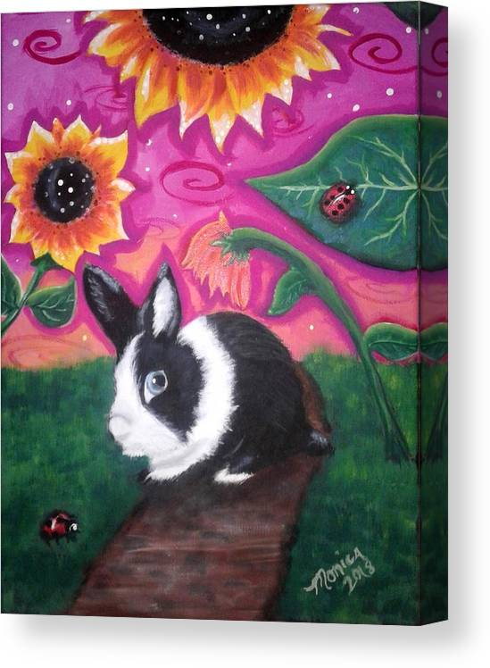 Dutch Bunny Canvas Print featuring the painting Dutch Bunny At Dusk by Monica Resinger
